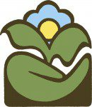 The CVGSS Logo, stylized hand holding a plant, blue flower with yellow centre, also looks like sun in the sky